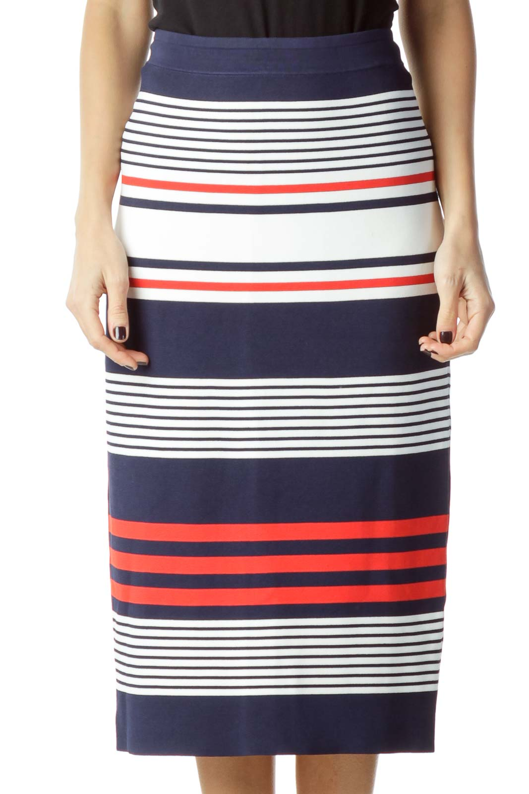 Navy Red Striped Pencil Skirt
