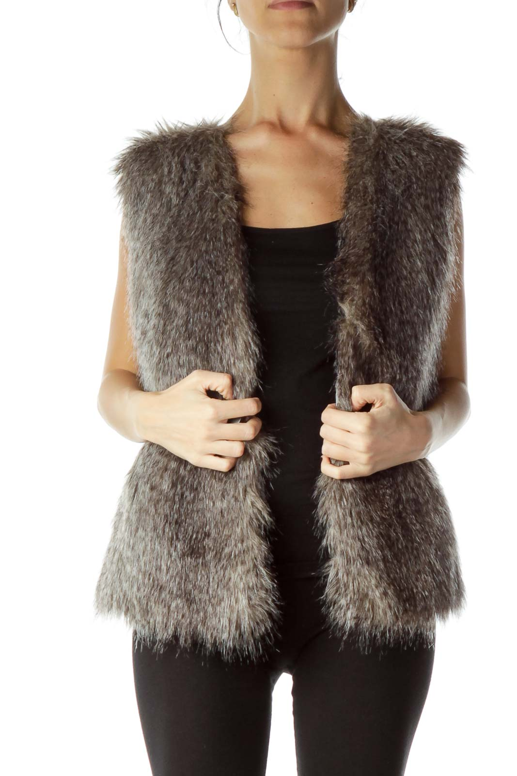 Gray Faux-Fur Vest