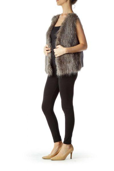 Gray Faux-Fur Vest