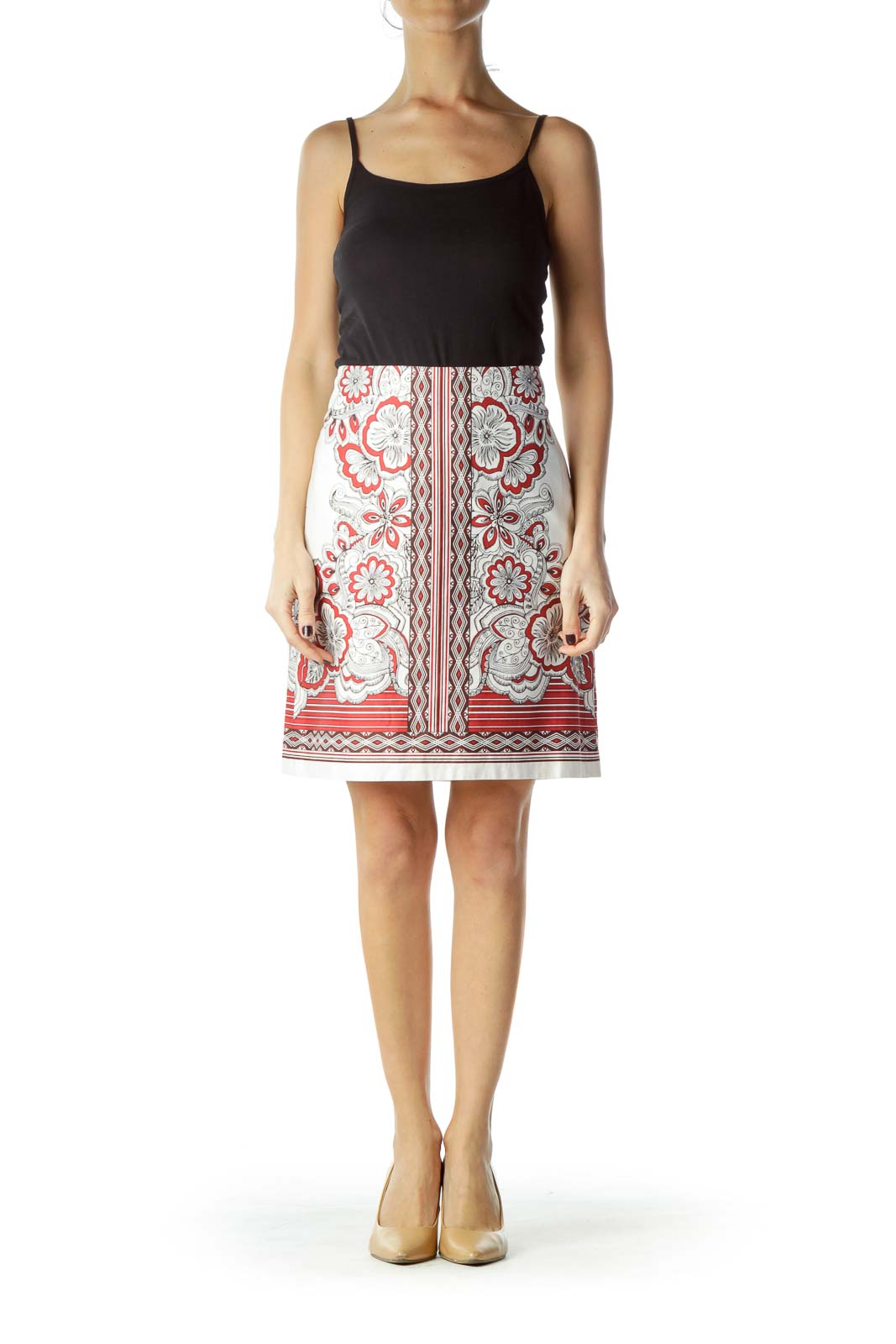 Cream Red Printed Cotton Skirt