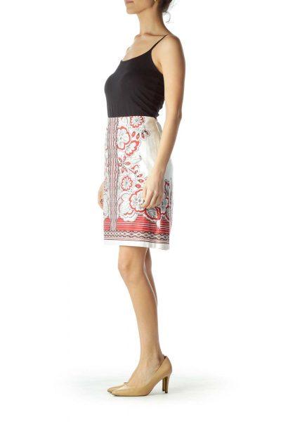 Cream Red Printed Cotton Skirt