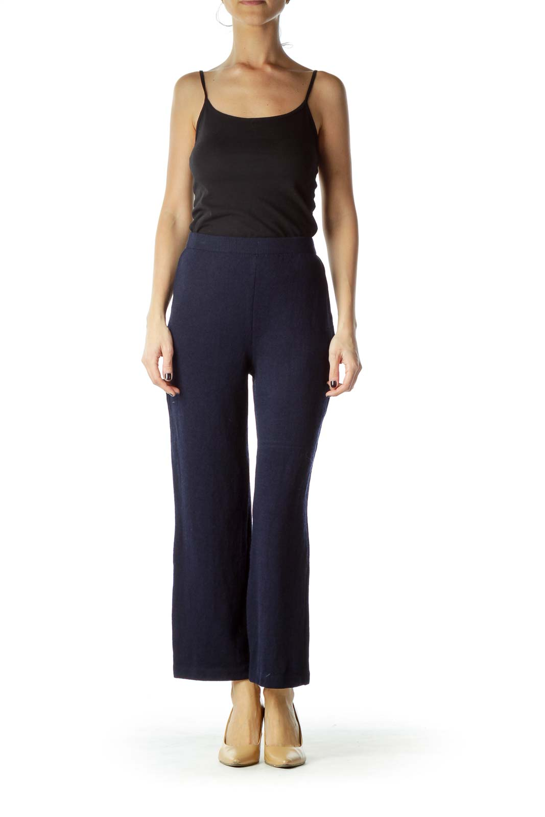 Navy Knitted Straight Leg Pant