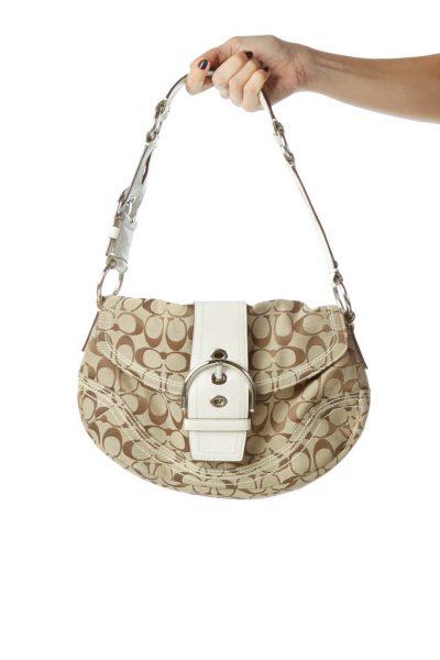 Beige White Monogrammed Shoulder Bag