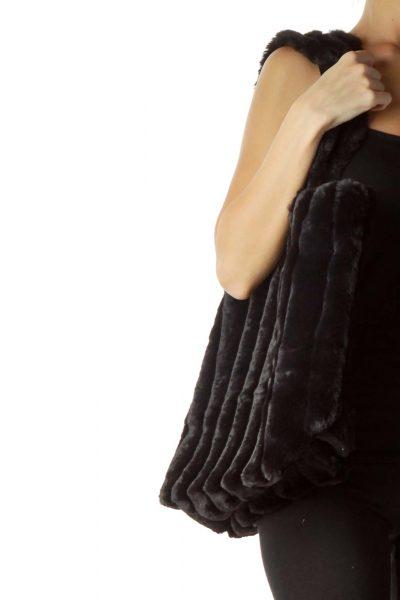 Black Faux-Fur Tote