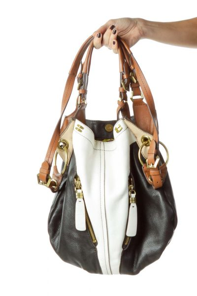Black White Brown Leather Tote