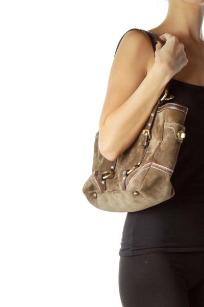 Brown Buckle Detail Suede Shoulder Bag