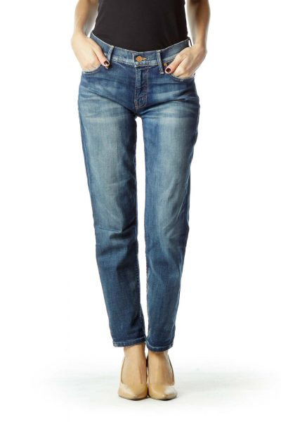 Straight Leg Jean with Distressed Pockets