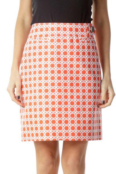 Orange Circle Print Mini Skirt
