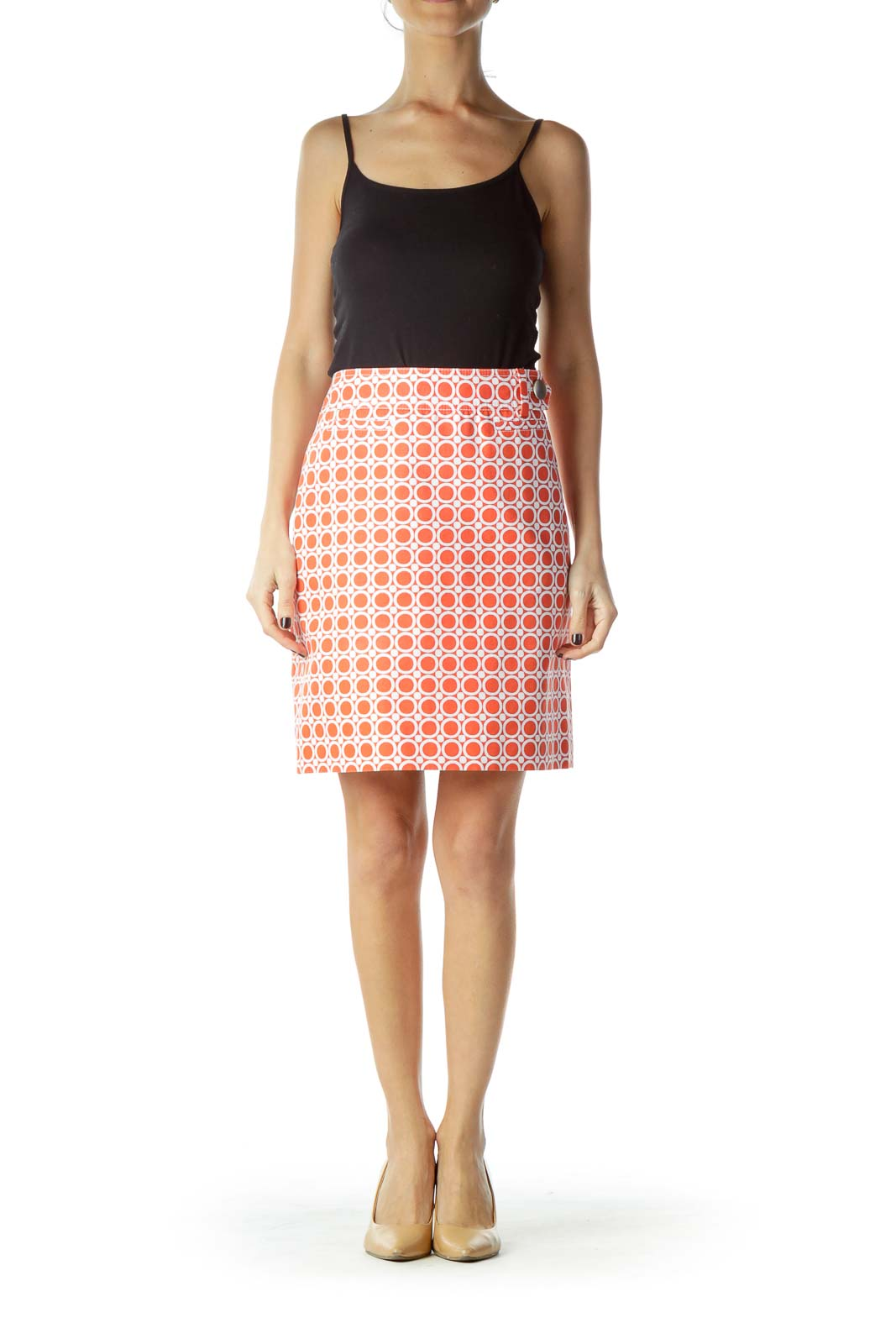 Orange Circle Print Mini Skirt