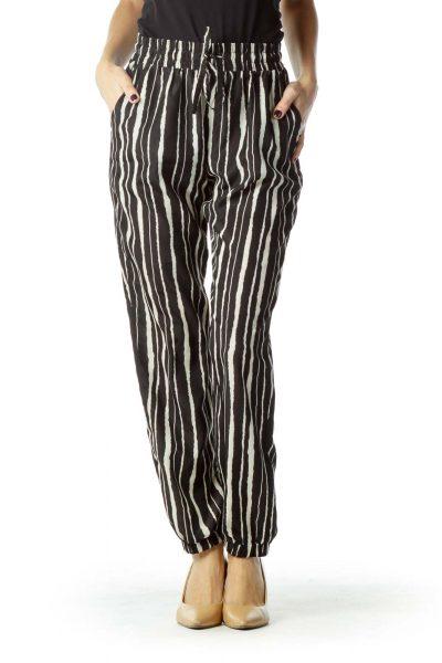 Black Cream Striped Soft Pant