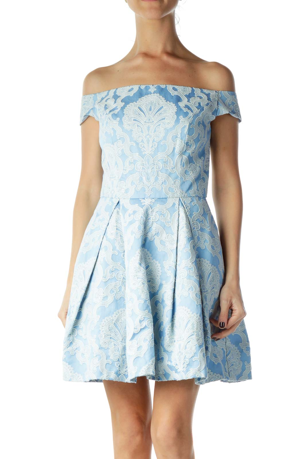 Blue White Embroidered Tulle Dress