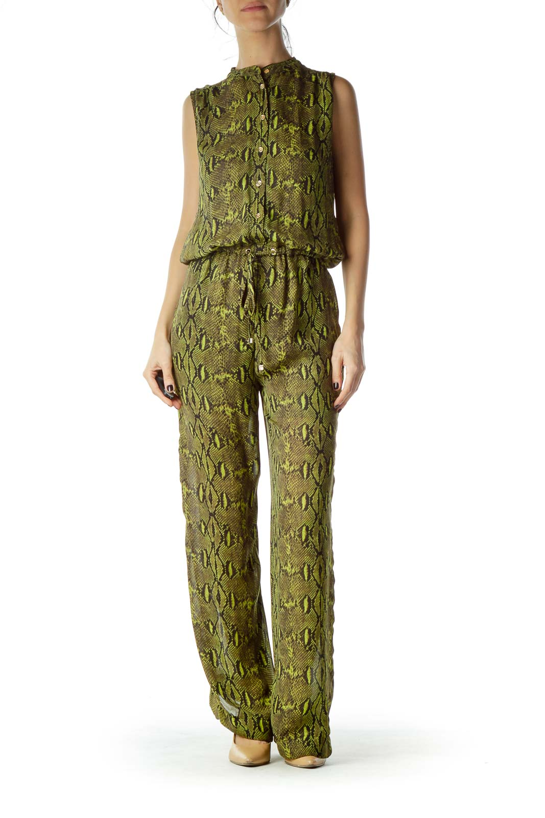 Green Black Snake Skin Jumpsuit