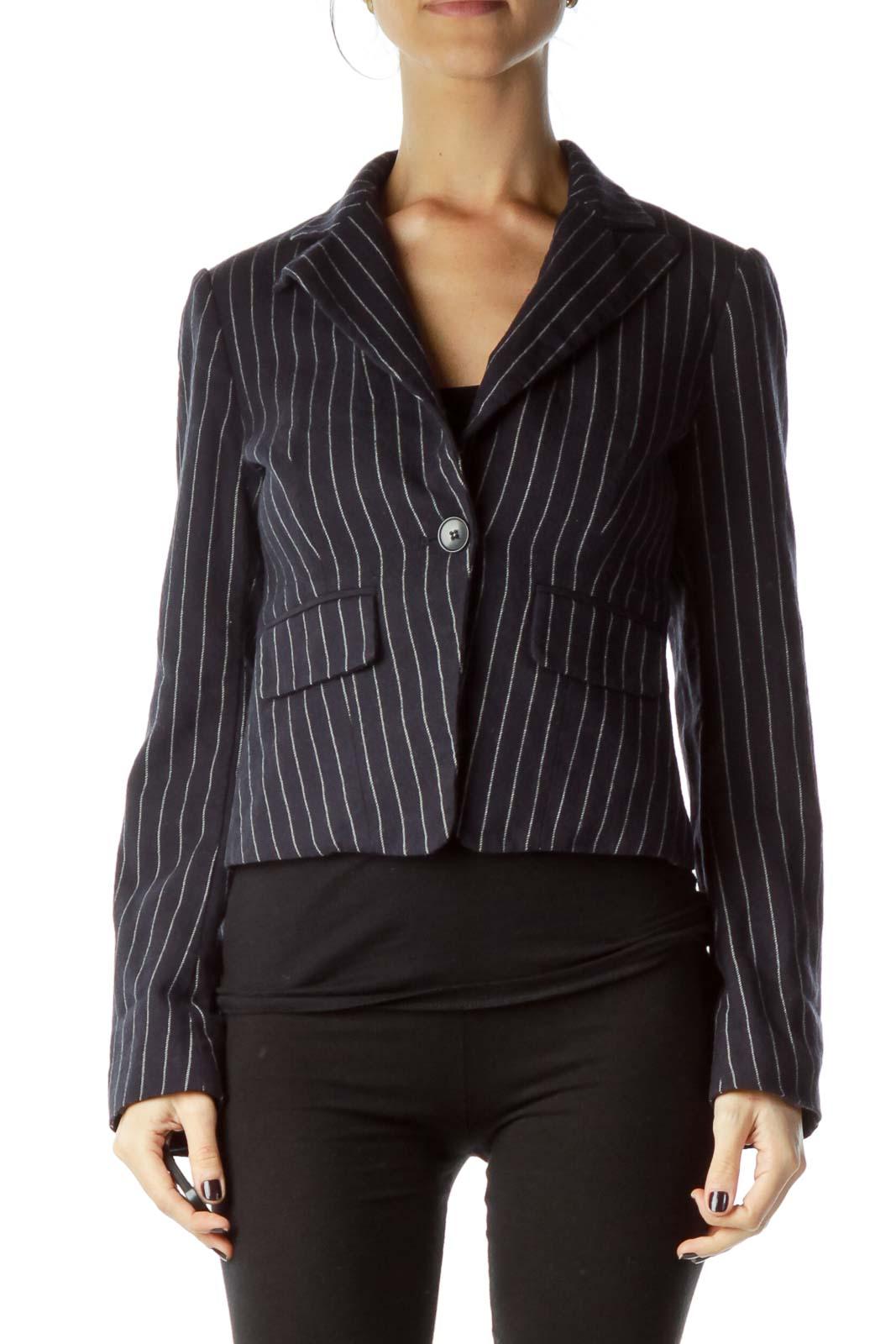 Navy Pinstripe Wool Blazer