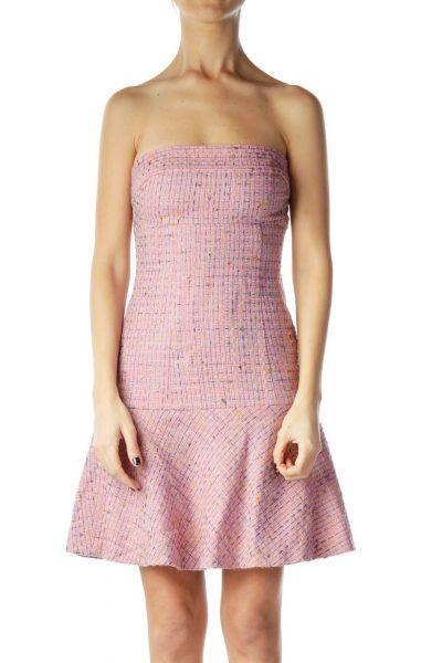 Pink Knit Strapless Dress