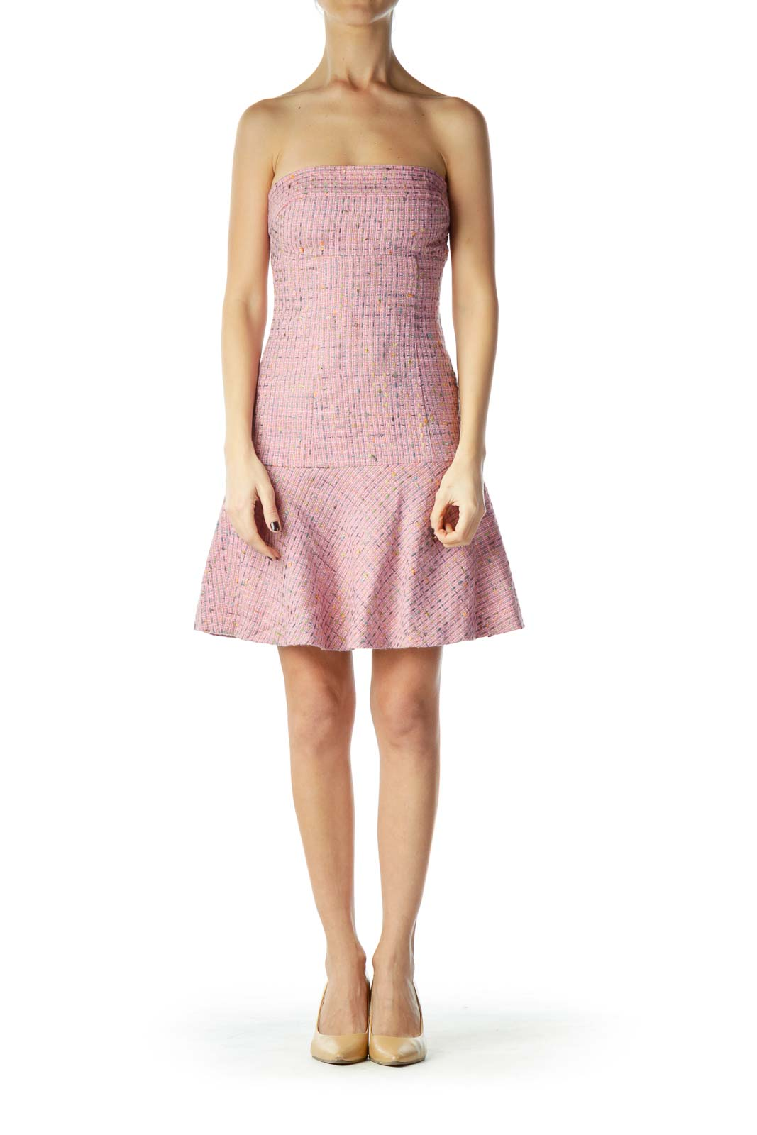 Pink Knit Strapless Dress