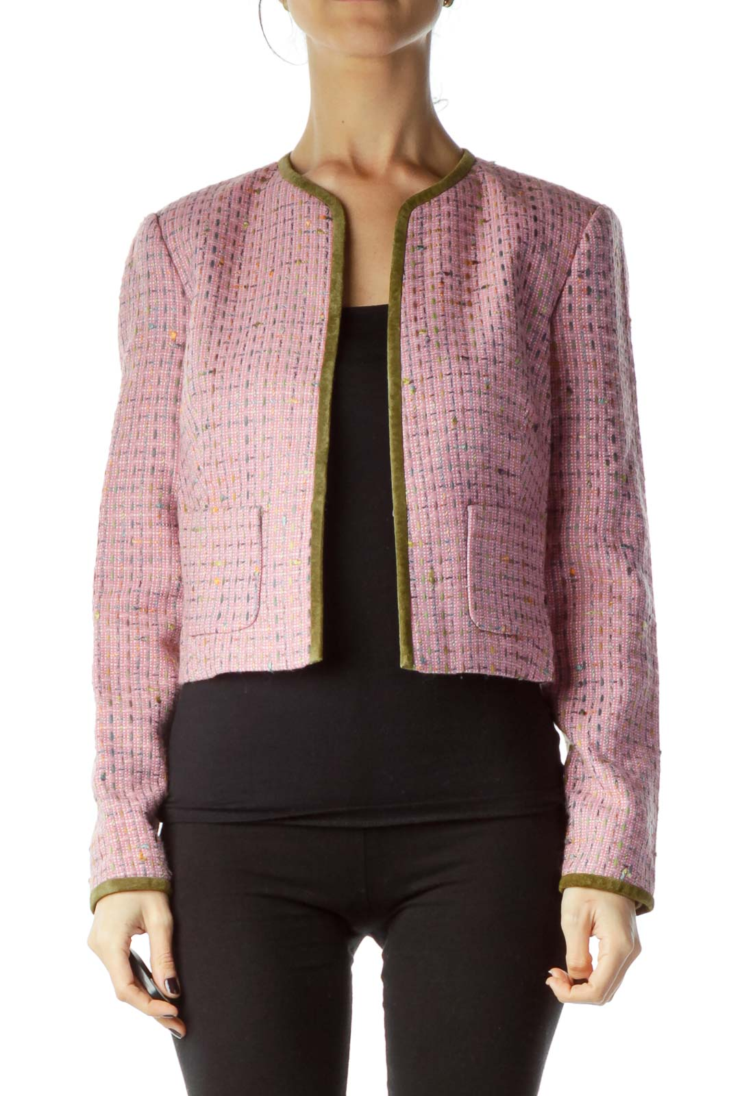 Pink Suede Trim Tweed Jacket