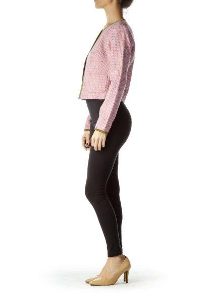 Pink Suede Trim Tweed Jacket