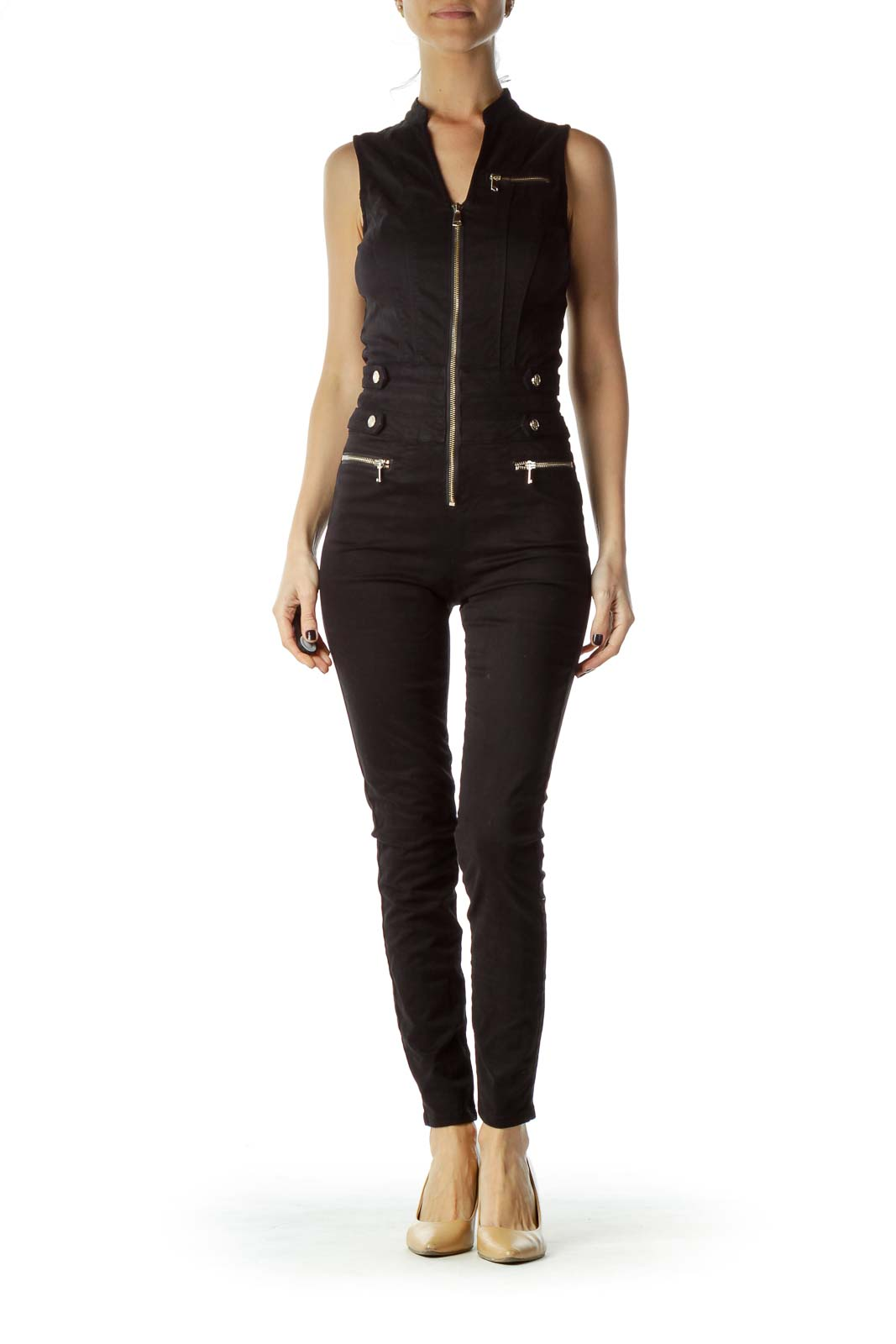 Black gold Zippered Fitted Buttoned Jumpsuit