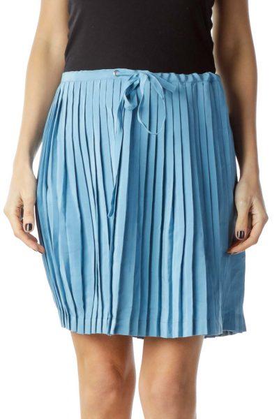 Blue Pleated Mini Skirt