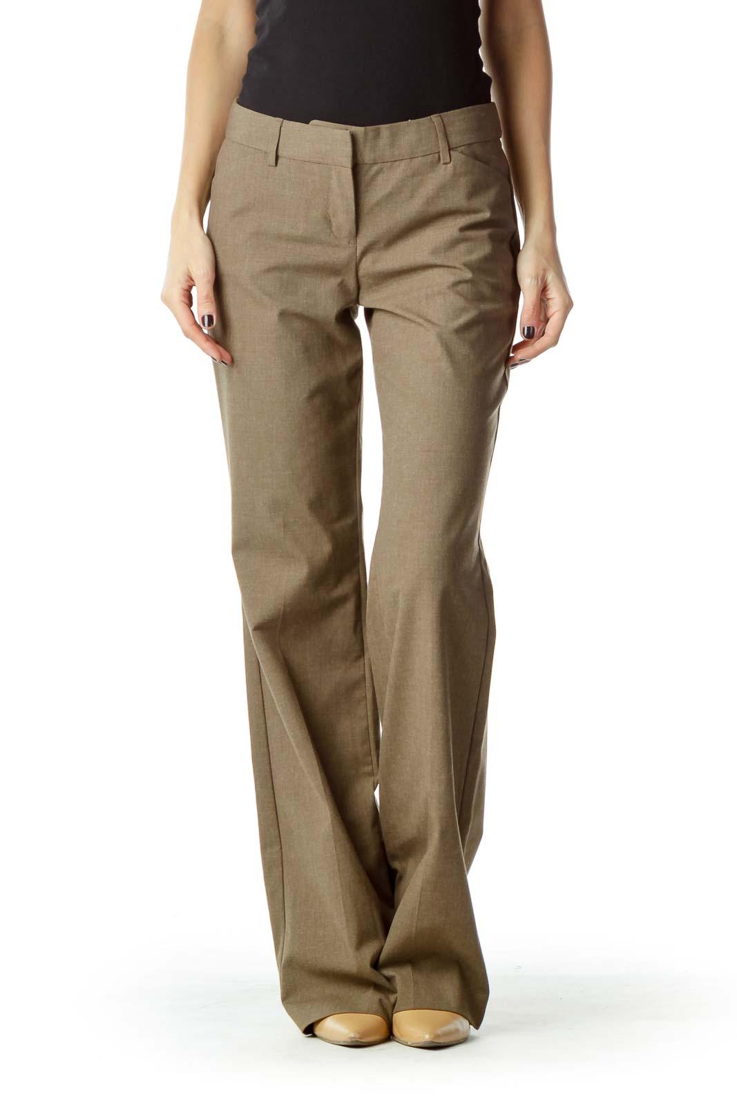 Brown Straight Leg Slacks