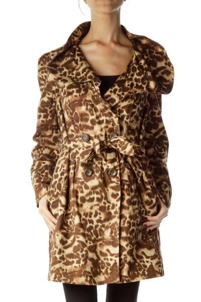 Brown Animal Print Trench Coat