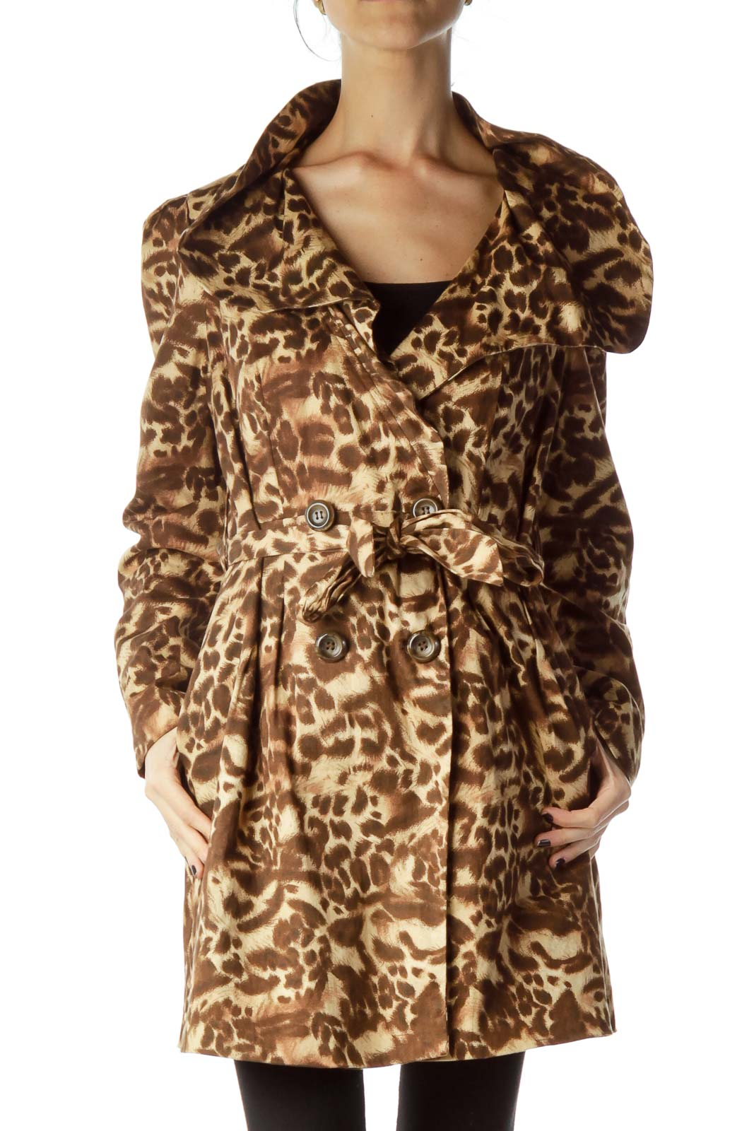 Brown Animal Print Trench Coat