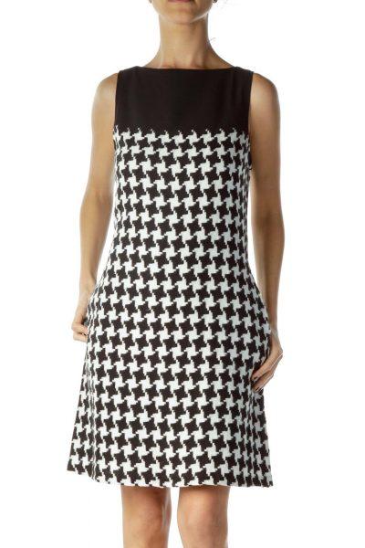 Black White houndstooth Shift Pocketed Dress