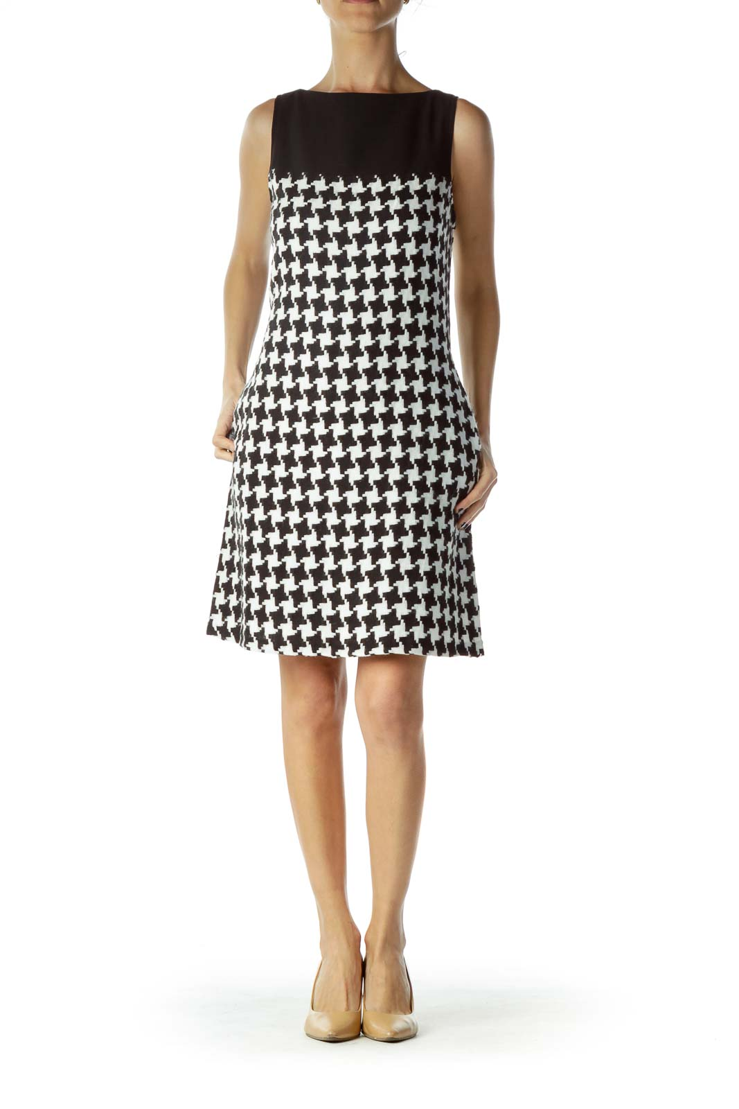Black White houndstooth Shift Pocketed Dress