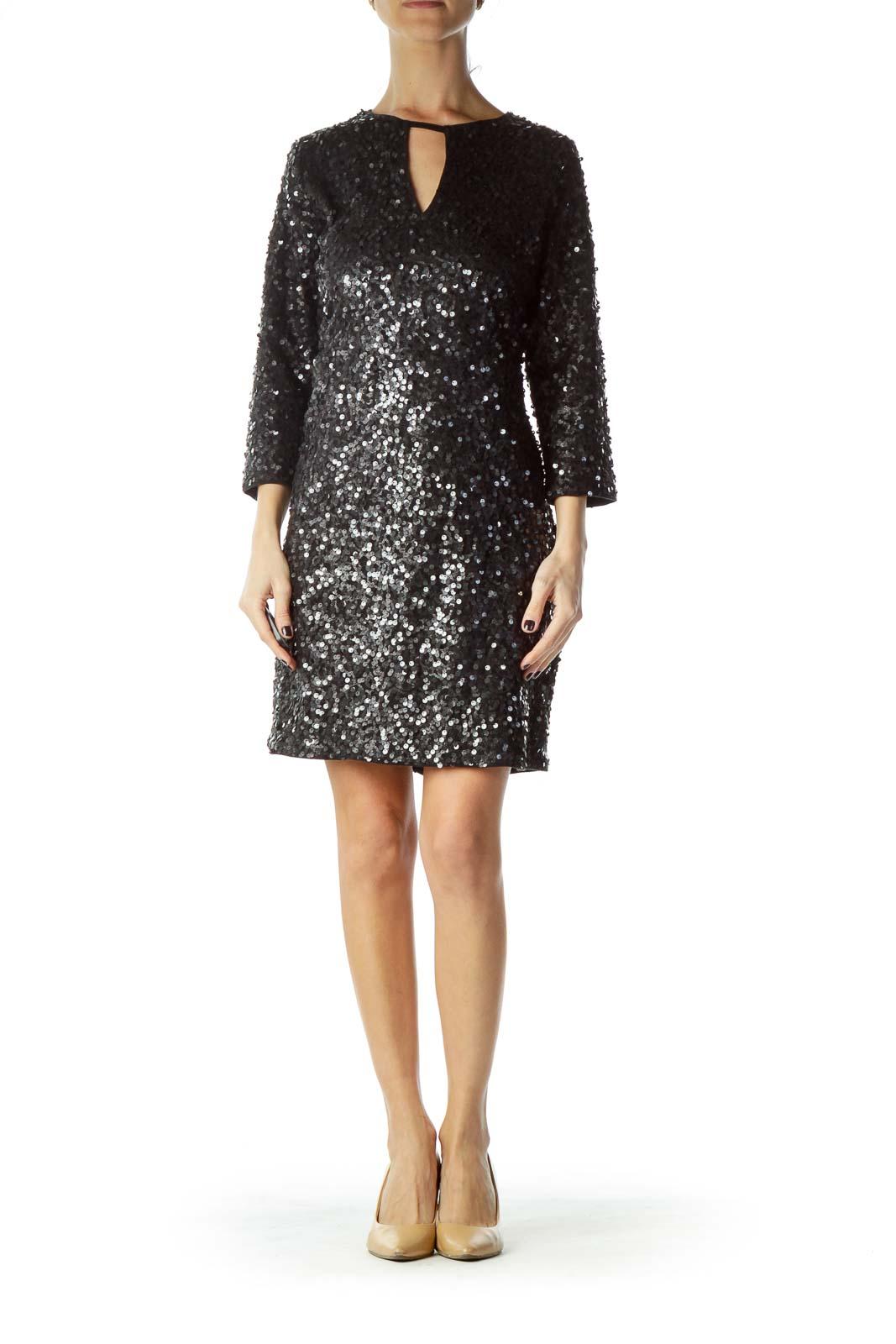 Black Silver Sequined Glitter Dress