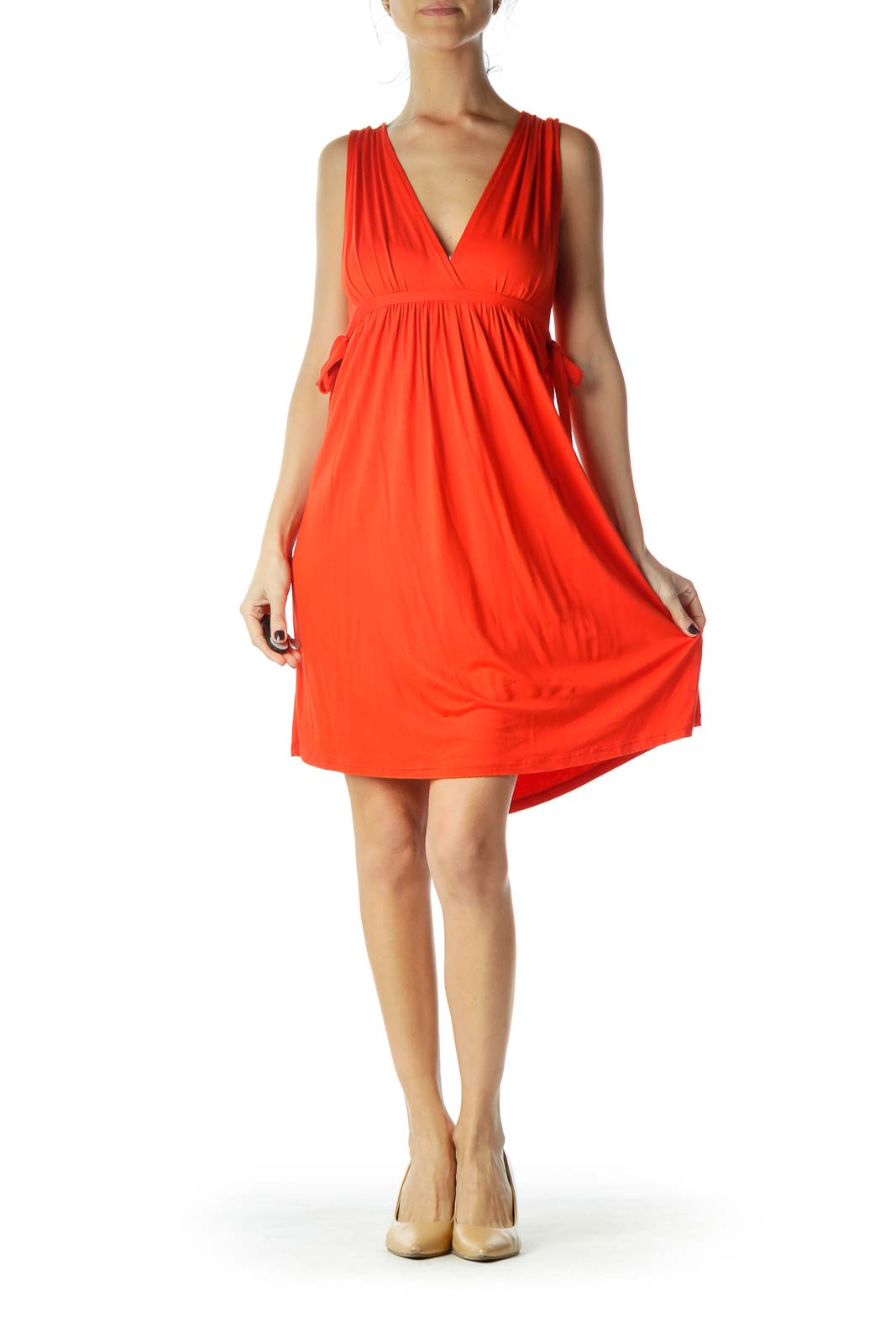 Red V-Neck Drawstring Dress