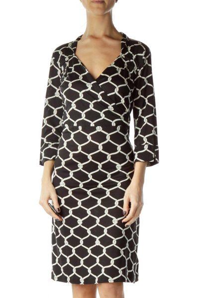 Black White Print Wrap Work Dress