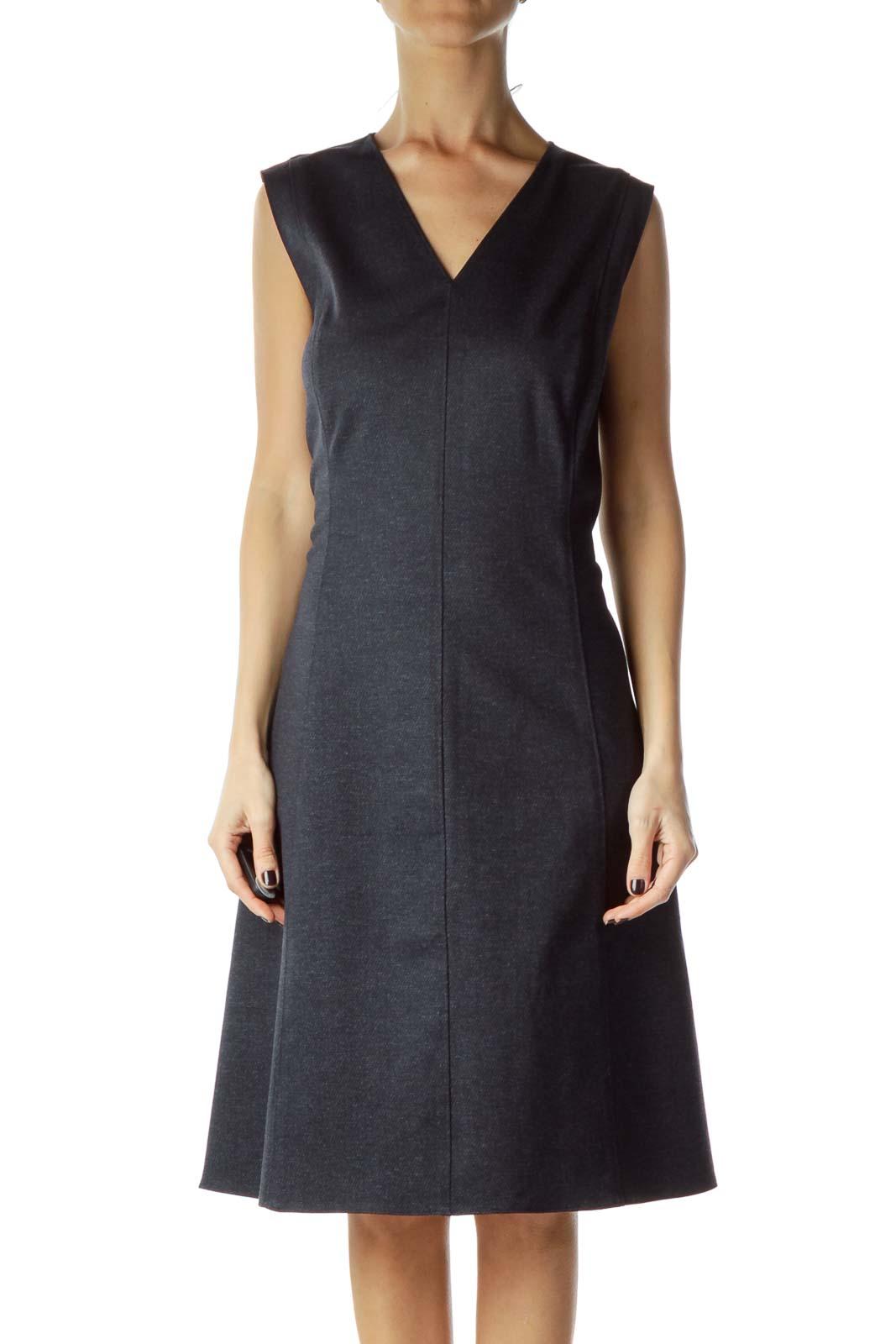 Blue A-line Zippered Work Dress