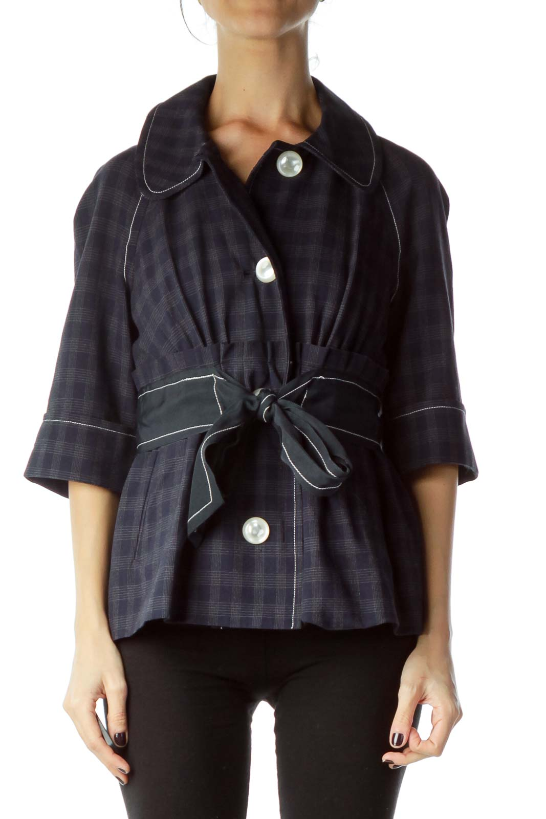 Navy Checkered Crop Sleeve Belted Jacket