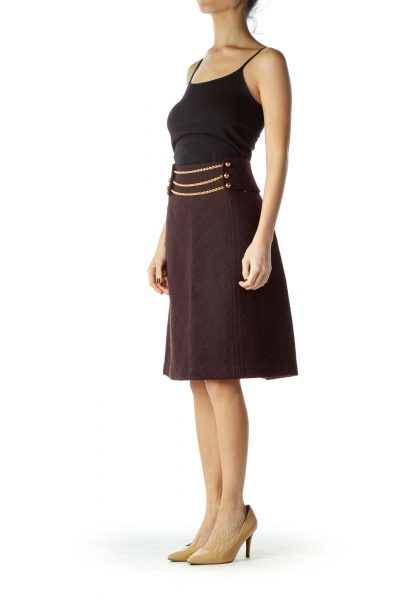Burgundy Wool Pencil Skirt with Chain Detail