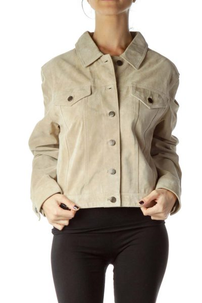 Beige Sued Button Down Jacket