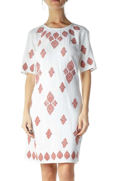 White Red Embroidered Cotton Dress