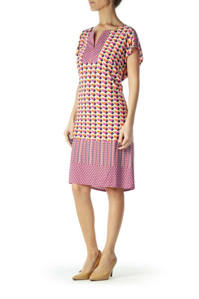Multicolor Pink Print Sleeveless Dress