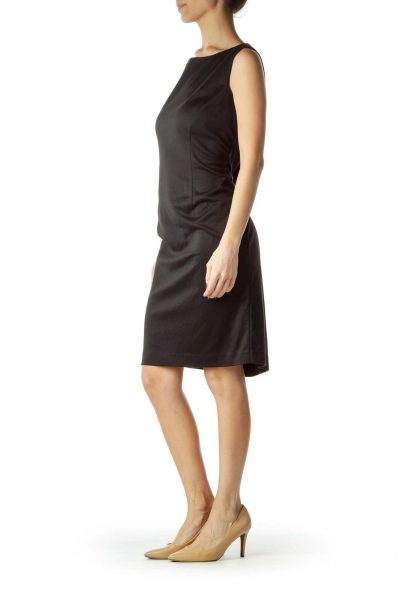 Black Sleeveless Zippered Work Dress