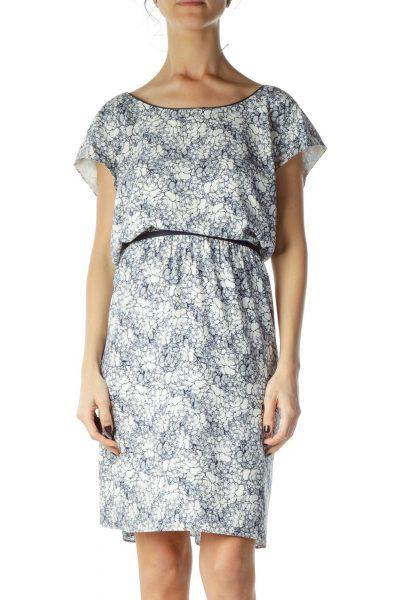 Blue White Floral Work Dress