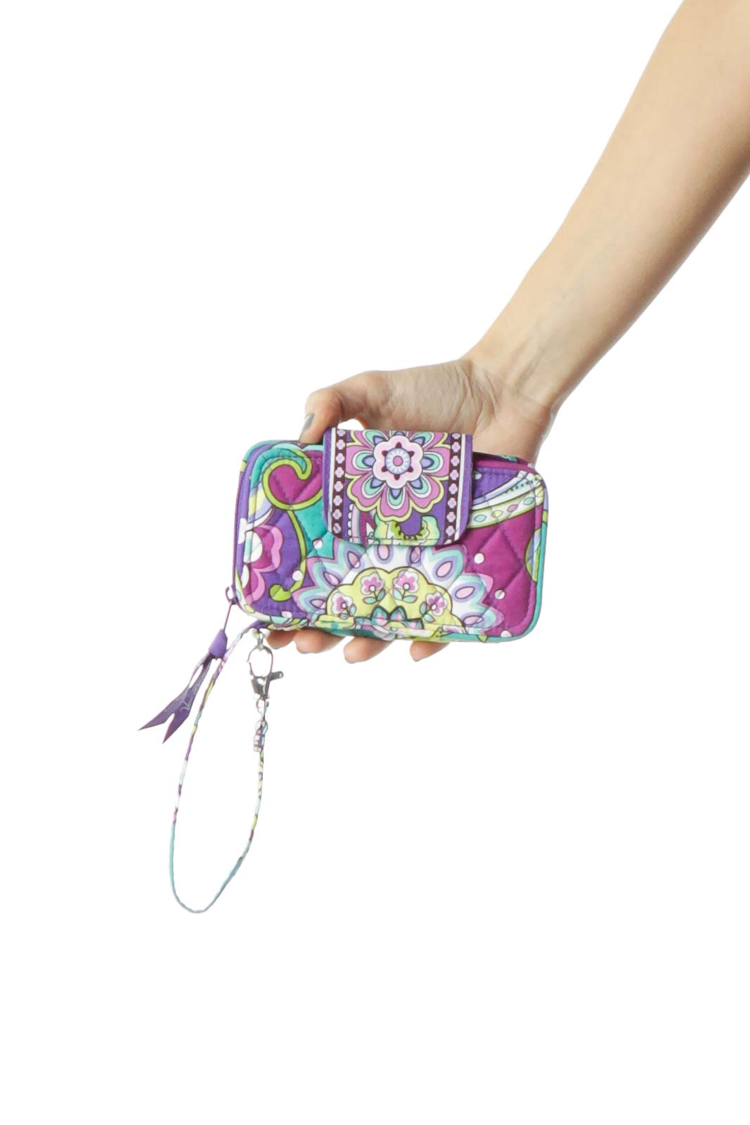 Multicolor Print Wallet with Strap