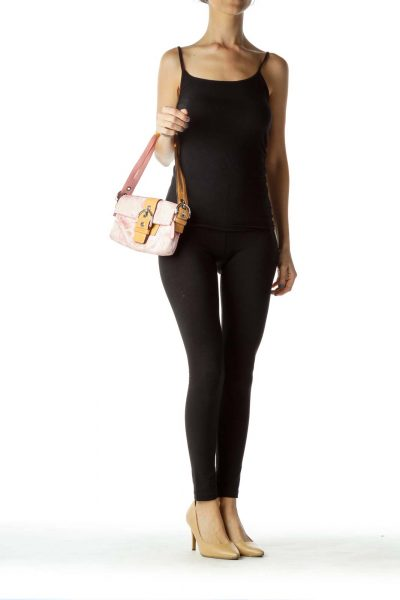 Pink Monogrammed Shoulder Bag with Leather Handle