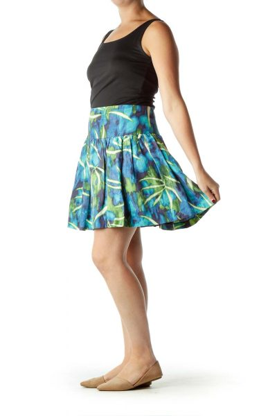 Blue Green White Tropical Print Skirt