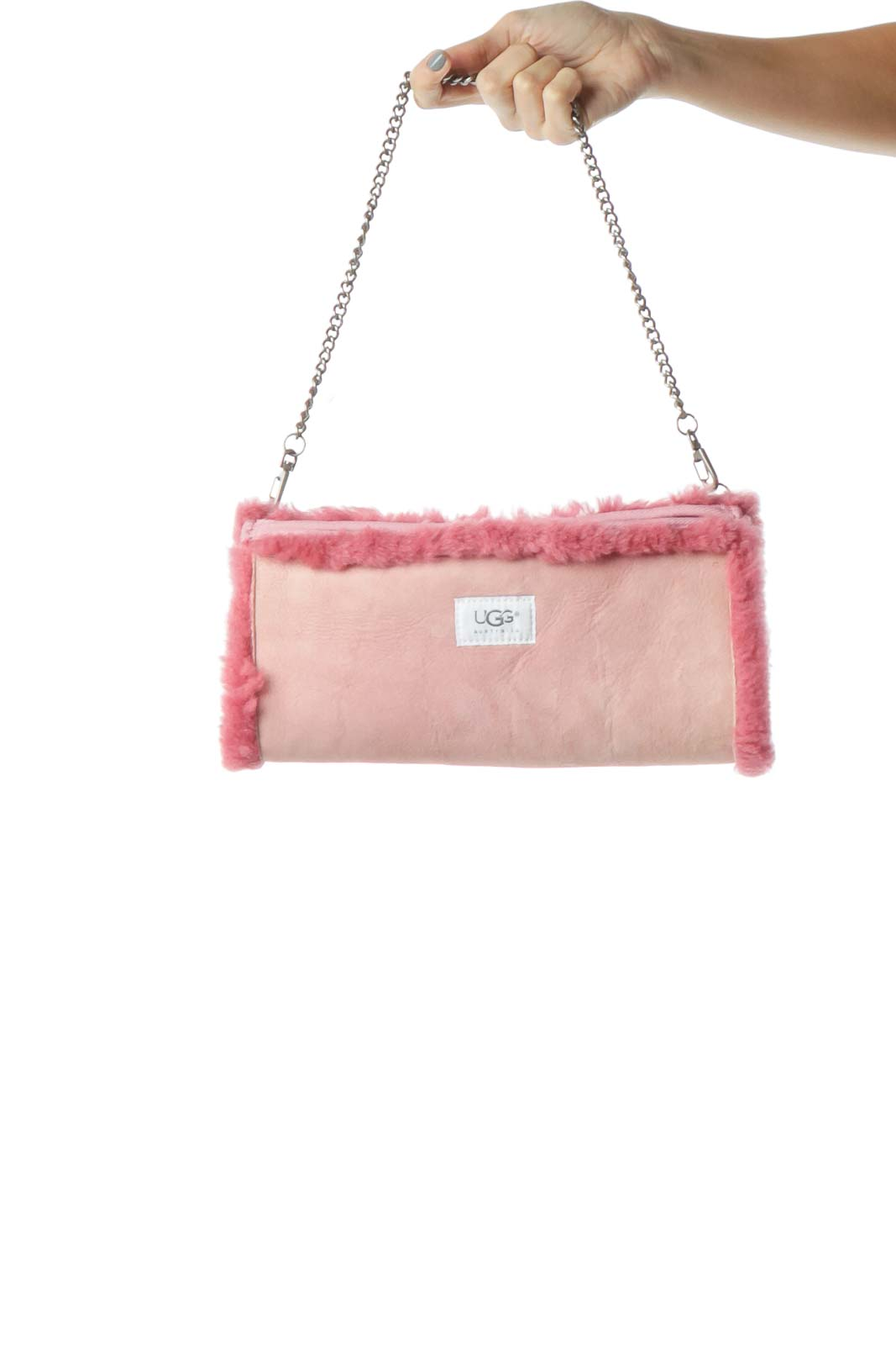 Pink Sheepskin Suede Clutch with Metal Strap