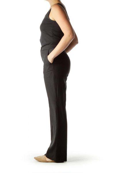 Gray Pinstripe Wide Leg Slacks