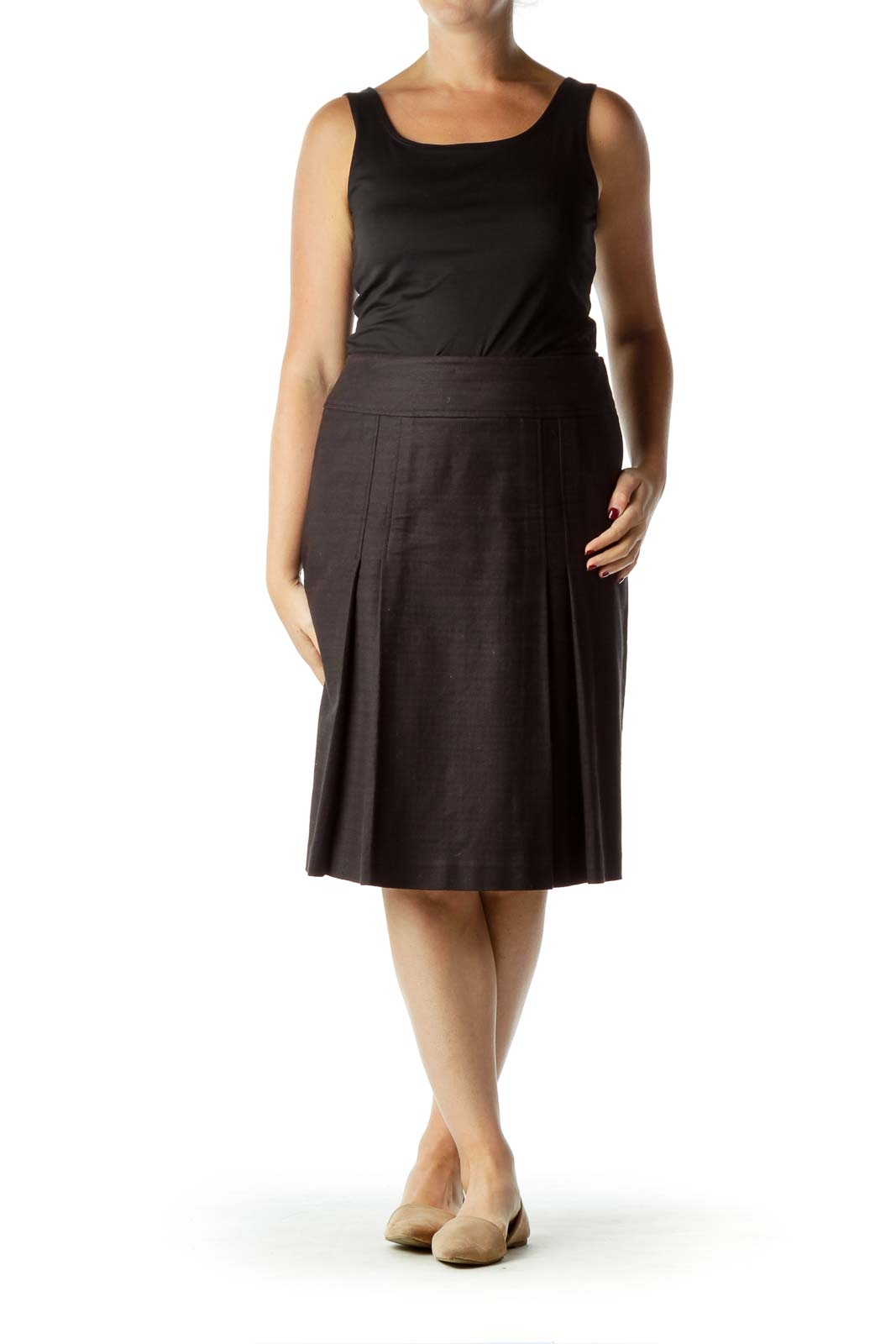 Black Pleat Detailed A-line Skirt