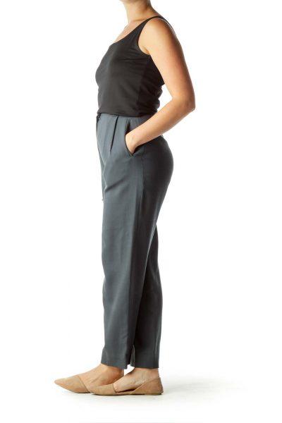 Gray Hig-Waisted Wool Pants
