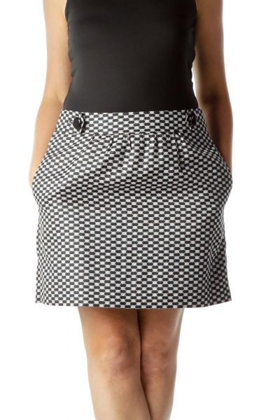 Black White Geometric Print Mini Skirt