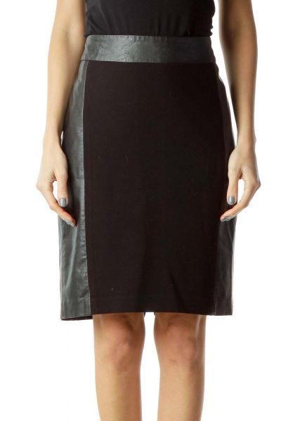 Black Faux-leather Trim Skirt