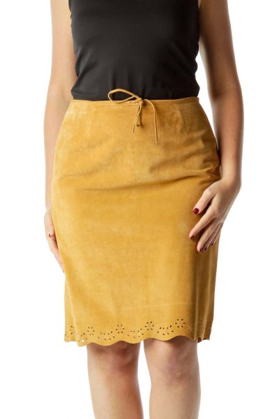 Brown Suede Drawstring Pencil Skirt