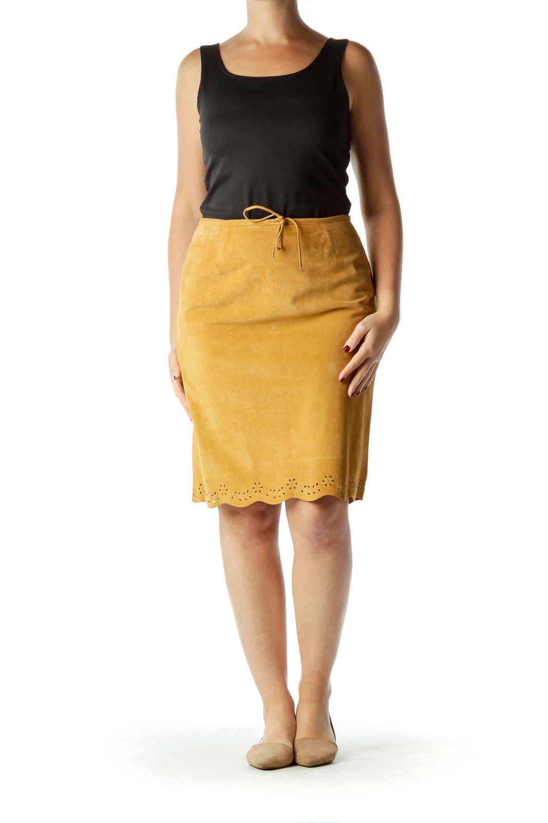Brown Suede Drawstring Pencil Skirt